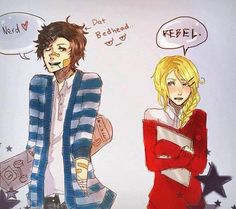 melonlord0019:  Found this one on Facebook. Percy and Annabeth as plain old mortals. Probably going to a normal school