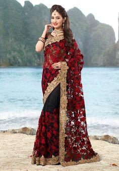 Black Designer Latest Indian Wedding saree in net