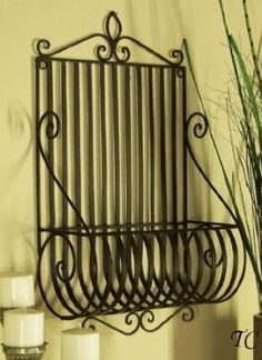 Metal Wall Planter set of 2 vintage indoor / outdoor wrought iron wall planters