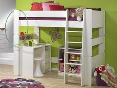cfc04e36fb1 Unbeatable Value - The Steens For Kids High Sleeper with Pedestal Desk and  Low Bookcase in Solid Plain White is available with Free UK Mainland  Delivery.