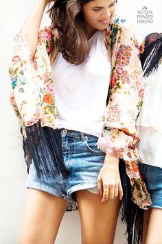 DIY Fringe Kimonos - This Handmade Japanese Kimono is Made Without Any Sewing Diy Clothing, Sewing Clothes, Diy Fashion, Fashion Design, Fashion Tips, Fashion Trends, Style Fashion, Fashion Ideas, Diy Vetement