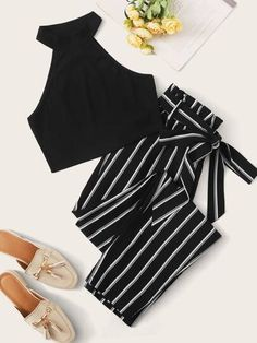 Rib-knit Halter Top and Paperbag Waist Striped Pants Set , Really Cute Outfits, Cute Girl Outfits, Cute Summer Outfits, Cute Casual Outfits, Simple Outfits, Pretty Outfits, Stylish Outfits, Girls Fashion Clothes, Teen Fashion Outfits