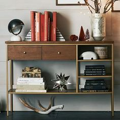Behind sofa across from fireplace? Side stools flanking Nook Console #westelm