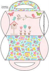 Dicas pra Mamãe: Kit de festa Personalizado com tema Jardim Encantado Easy Paper Crafts, Diy And Crafts, Printable Box, Baby Shower Photos, Gift Box Packaging, Minecraft Crafts, Pillow Box, Crochet Doll Pattern, Fairy Dolls