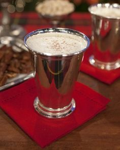 Whiskey, rum, and brandy are beaten together with egg yolks, sugar, and cream, and then thoroughly chilled. Just before serving, whipped cream and beaten egg whites are folded in, creating an unbelievably creamy eggnog.