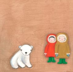 """Eskimo Friends"" artwork for nursery by Creative Thursday by Marisa for Oopsy daisy, Fine Art for Kids $69"
