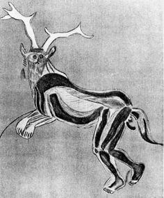 """The Sorcerer"" is a mysterious cave painting found in the Trois-Frères cave in France. The image is of a being which is part human, and part beast. The image is truly ancient, being around 15,000 years old. It appears to be depiction of a horned deity or shaman."