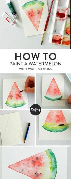 Watercolor Watermelon: 4 Steps to Painting a Slice of Summer Paint a slice of s.Watercolor Watermelon: 4 Steps to Painting a Slice of Summer Paint a slice of s . Watercolor Watermelon: 4 Steps to Paint a Su# Paint Watercolor Painting Techniques, Watercolour Tutorials, Painting & Drawing, Painting Tutorials, How To Paint Watercolor, Simple Watercolor, Watercolor Canvas, Watercolour Paintings, Watercolor Texture