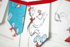 dr suess'  the cat in the hat bunting banner by decorandcrafts, $20.00  Perfect for themed birthday parties, baby showers or children's bedroom decor.