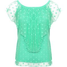 Annika Mesh Polka Dot Gypsy Top ($29) ❤ liked on Polyvore featuring tops, green, plus size, plus size tops, green off the shoulder top, plus size off shoulder tops, flounce top and women's plus size tops