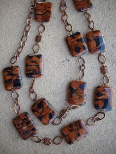 Sparkle Copper and Navy Blue Square Stone by DesignsbyPattiLynn, $65.00