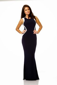 Issue New York Chic Navy and White Evening Gown | C'est Chelle Boutique