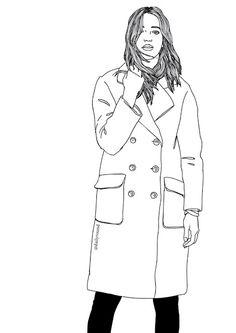 Fashion illustration, girl, coat, street style, paintings