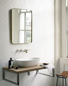 Explore all of the options for your bathroom sink! See beautiful modern bathroom sinks, the perfect sink for small bathrooms ideas, and how to compliment any bathroom vanity with the best sink for you. Loft Bathroom, Family Bathroom, Bathroom Interior, Modern Bathroom, Master Bathroom, Bathroom Sinks, Bathroom Wall, Metro Tiles Bathroom, Bathroom Ideas