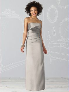 After Six Bridesmaid Dress 661 Strapless full length dress in duchess satin has draped detail at bodice.