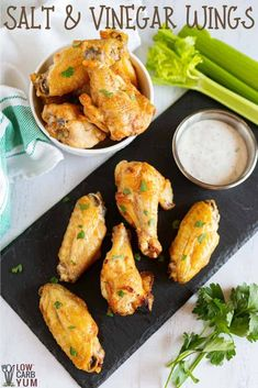 Salt and Vinegar Wings (Air Fryer or Oven Baked) A low carb wings recipe with salt and vinegar. These keto chicken wings are sure to become a favorite low carb chicken wings recipe. Low Carb Chicken Wings, Air Fry Chicken Wings, Crispy Chicken Wings, Chicken Wing Recipes, Oven Chicken, Baked Chicken, Air Fryer Recipes Appetizers, Air Fryer Recipes Low Carb, Buffalo Wings