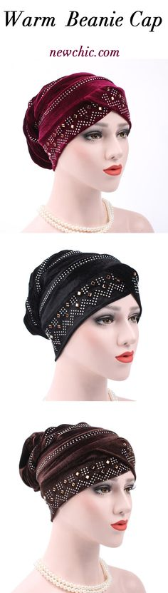 b3f9db9a8a0 Women Gold Velour With Diamond Stretch Turban Hat Casual Warm Solid Beanie  Cap. Black Hair JewelryHair ToppersScarf ...