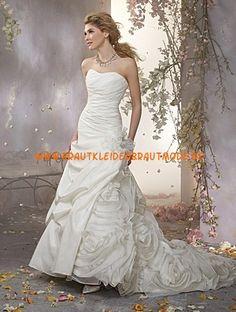 Alfred Angelo A-linie Glamouröse Dramatische Brautkleider aus Taft mit Blumen