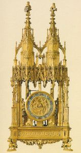 Cathedral form clock made for Philip the Good of Burgandy, c. 1450. This clock is believed to be the oldest known clock incorporating a spring and fusée