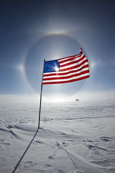 """Sun Dog - Flag - One from last """"summer"""" while stationed at the South Pole, Antarctica. American Flag Pictures, Patriotic Pictures, America Independence Day, Independence Day Images, I Love America, God Bless America, Sun Dogs, Sea To Shining Sea, Old Glory"""