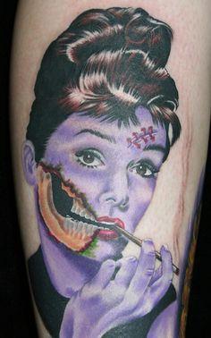 Audrey Hepburn Zombie Tattoo!