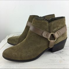 "[Sam Edelman] Phoenix Suede Harness Ankle Booties The perfect pair of ankle booties for fall. Suede with leather harness detail at ankle. Inner zip. Small wood heel. Easy to wear. Looks great with skinnies and more!   Color: Olive & Brown Material: Leather Upper. Balance Man Made Size: 7 Heel Height: 1.75"" Condition: EUC. Worn a handful of times. Soles have some scuffing. No major flaws.  No Trades! No PayPal! Sam Edelman Shoes Ankle Boots & Booties"