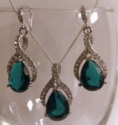 Teal Green Jewelry Set,  Bridesmaid Earrings, Teardrop Bridal Necklace, Peacock Wedding Jewelry, TWIRL on Etsy, $79.00> That's pretty...what are you thinking for jewlery?