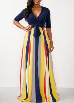 Rosewe Women Dress Navy Blue V Neck Striped Maxi Striped V Neck Half Sleeve Maxi Dress Maxi Dress With Sleeves, Belted Dress, Half Sleeves, Sleeve Dresses, Long Sleeve Maxi, Women's Fashion Dresses, Sexy Dresses, Casual Dresses, Trendy Dresses