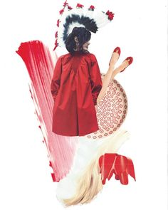 Let's start the day with passion..My new collage in bright red tones..#myart #collage #red #brightcolors #mood #reddress #flatshoes #vitraelephant #passion #fashion #creating #scissors #glue #magazines #cuts