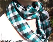 Infinity Scarf - Turquoise, Black, White, and Silver Plaid