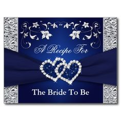 Navy Blue, Silver Floral Hearts Recipe Card Postcard