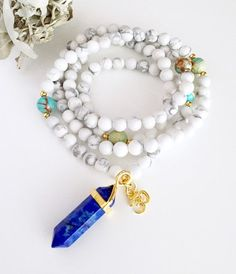 ♥♥♥ $2 HAPPY HOUR SPECIAL!!♥♥♥  It's Happy Hour right now! GET an extra $2.00 off on your order!  Use code VIBE2 at checkout.  ♥ Bring protection, calmness and creativity to your life with this Mala ♥  This Mala is hand made with: White Howlite 6mm beads Blue Jasper Gold plated accents Guru Crystals - please choose from: *White Jade *Yellow Jade  *Rose Quartz  *Green Aventurine  *Turquoise *Blue Lapis Lazuli *Green Fluorite