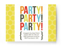 Party Party invitation by Smilebox.  Share an inviting pop of fun for party people of all ages. Choose a photo option, color scheme, and title. Streamlined for easy printing, without music or animation.