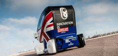transport systems catapult unveils the UK's first driverless vehicle, the electric powered 'LUTZ pathfinder pod', at a launch event in greenwich, london