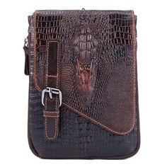 6 inches Men Genuine Leather Waist Bag Alligator Pattern Minimalist Casual Phone Bag Crossbody Bag - Banggood Mobile