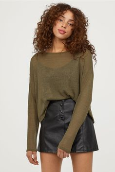 Fine-knit jumper - Olive green - Ladies | H&M GB 1