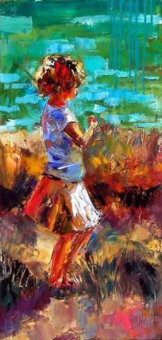 "Artists Of Texas Contemporary Paintings and Art - ""What Sarah Found"" Impressionist Little Girl Art Child at Beach Painting Figurative Paintings by Debra Hurd"