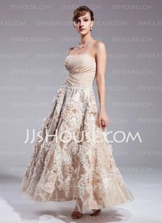 A-Line/Princess Sweetheart Ankle-Length Satin Lace Wedding Dresses With Ruffle Beadwork (002012841)$200.00