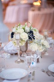 White Rose and Navy Blue Flower Table Centerpiece Decorations