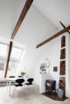 Wood beams and a wood burning stove :)