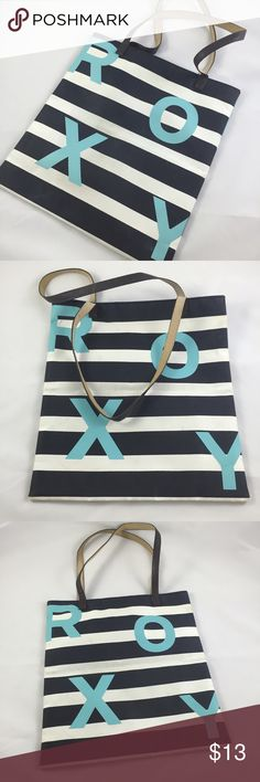 Roxy vinyl beach tote Roxy black and white striped vinyl beach tote with black and brown handles, light blue cloth interior and light blue letters on exterior   no trades  offers encouraged!  bundles 2+ items 10% off  bundle price recently changed to lower prices/ acceptable offers for my Poshmark friends interested in single items only  Roxy Bags Totes