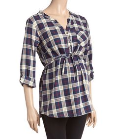 This Due Time Blue & Khaki Plaid Maternity Button-Front Top - Women is perfect! #zulilyfinds