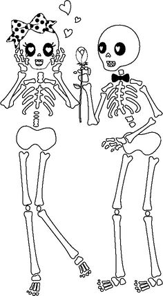 Dibujos de esqueleto para colorear en Halloween - printable skeleton