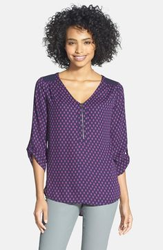 Pleione Zip Front Mixed Media Top (Regular & Petite) available at #Nordstrom