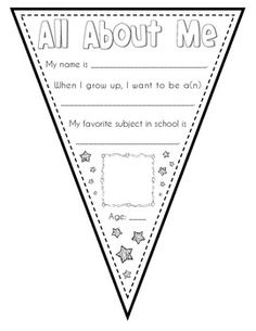 All About Me Super Star Pennant ~ FREE printable pages for different grades