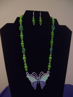 Green butterfly necklace/earrings $35.00 set