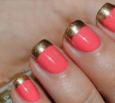 Coral Nail Polish with Gold Tips. I wanted to do my Prom nails like this, but the guy at the manicure place kind of did his own thing. Coral Nail Polish, Coral Nails, Chevron Nails, Gold Nails, Gold Manicure, Peach Nails, Glitter Nails, Red Nail, Black Polish