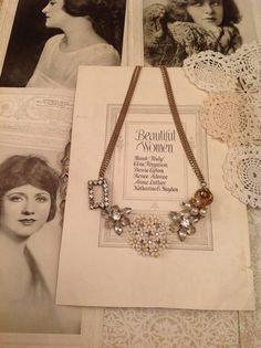 Vintage Rhinestone White Flower Brooch Statement Necklace $25
