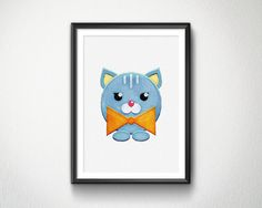 Cute Cat Watercolor Nursery animals prints by BlessLifePrints Watercolor Cat, Blessed, Nursery, Cats, Unique Jewelry, Handmade Gifts, Prints, Life, Animals