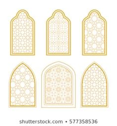Set of ornamental windows in arabic style. For greeting card, coloring page, islamic design Mosque Architecture, Islamic Art, Decoration, Stained Glass, Coloring Pages, Digital Prints, Vector Free, Carving, Windows